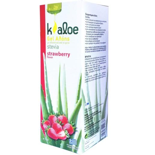 Kaloe Gel Αλόης με Γεύση Φράουλα & Γλυκαντικά Από το Φυτό Stevia 1Lt