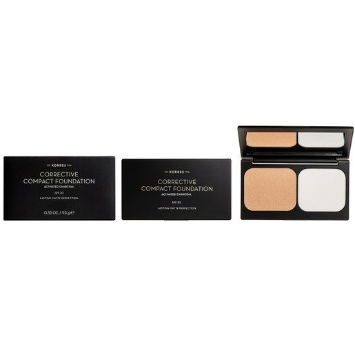 Korres Corrective Compact Foundation With Activated Charcoal Spf20, 9.5gr