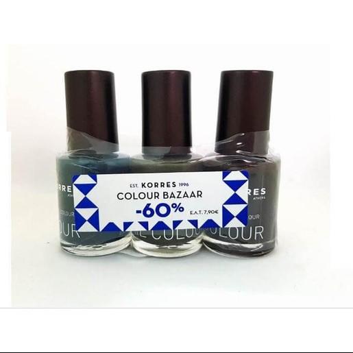 Korres Nail Colour Set, Σετ με 3 Βερνίκια Εντονης Λάμψης σε 3 Χρώματα:Hazy Petrol.Warm Khaki, Chocolate Brown 3τμχ