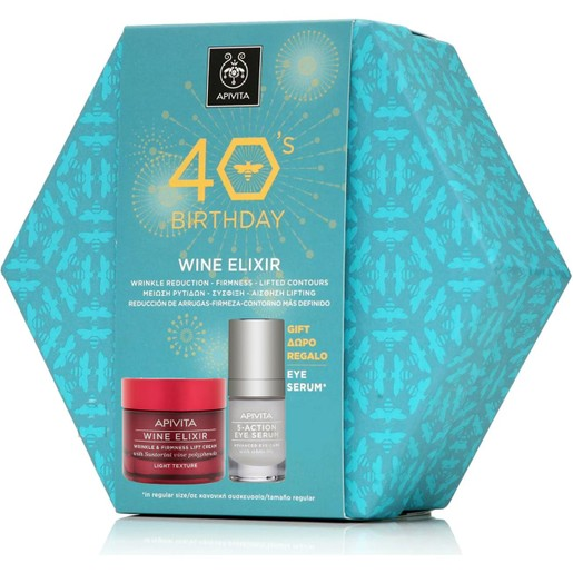Apivita Πακέτο Προσφοράς 40years Wine Elixir Wrinkle & Firmness Lift Light Day Cream 50ml & Δώρο 5-Action Eye Serum 15ml