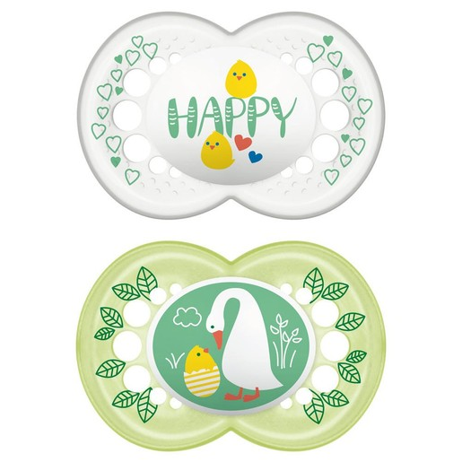 Mam Hello Spring Ορθοδοντική Πιπίλα Σιλικόνης Κωδ 153S από 6 Έως 16 Μηνών 2 Τεμάχια