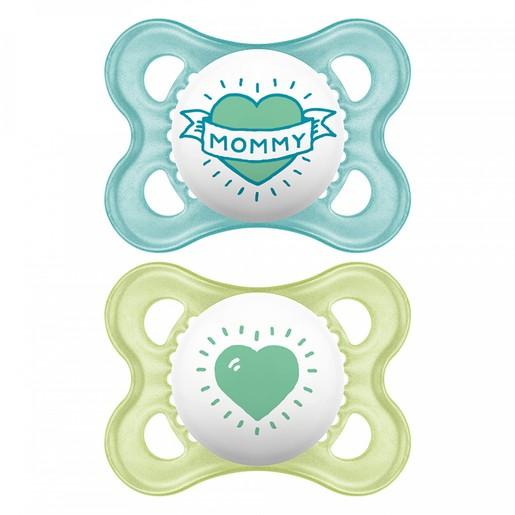 Mam I Love Mummy & Daddy Ορθοδοντική Πιπίλα Σιλικόνης Κωδ 115S από 2 Έως 6 Μηνών 2 Τεμάχια