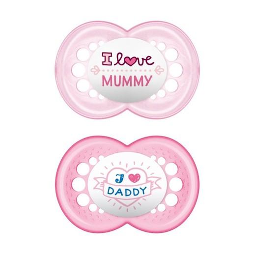 Mam I Love Mummy & Daddy Ορθοδοντική Πιπίλα Σιλικόνης Κωδ 170S από 6 Έως 16 Μηνών 2 Τεμάχια