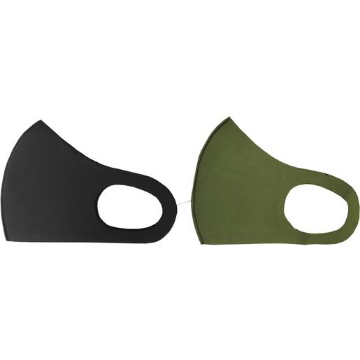 TiLi Fashion Face Mask Μάσκα Ενηλίκων Πολλαπλών Χρήσεων Μαύρη - Χακί 2 Τεμάχια