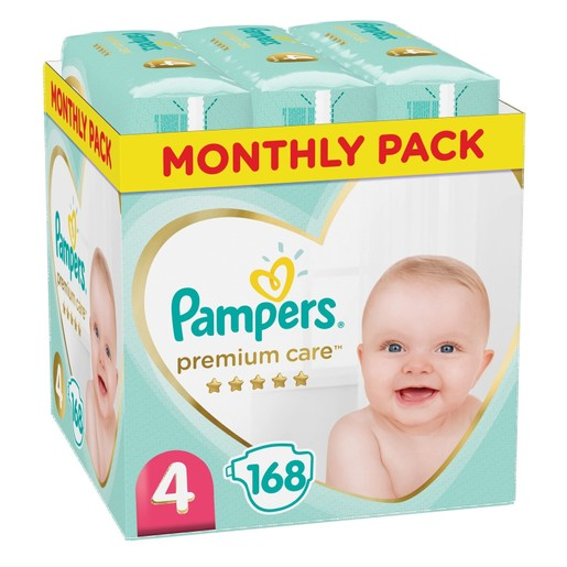 Pampers Premium Care Monthly Pack No4 (9-14kg) 168 πάνες