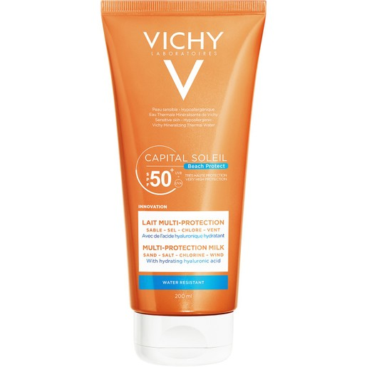 Vichy Capital Soleil Beach Protect Multi-Protection Milk Spf50+ Αντηλιακό Γαλάκτωμα Προσώπου Σώματος Πολλαπλής Προστασίας 200ml