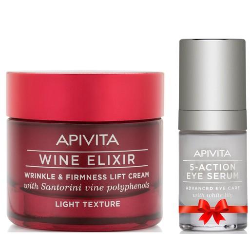 Apivita Πακέτο Προσφοράς 40years Wine Elixir Wrinkle & Firmness Lift Light Day Cream 50ml & Δώρο 5-Action Eye Serum 15ml