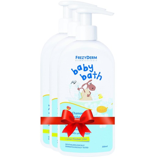 Frezyderm Πακέτο Προσφοράς Baby Bath Βρεφικό Αφρόλουτρο με Χαμομήλι, Εστέρες Αμυγδάλου & Πρωτείνες Σιταριού 3x300ml