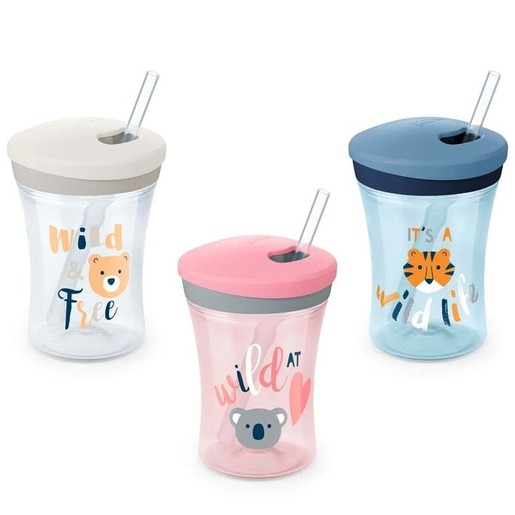 Nuk Action Cup Ποτηράκι με Καλαμάκι και Βυδωτό Καπάκι 12+m, 230ml