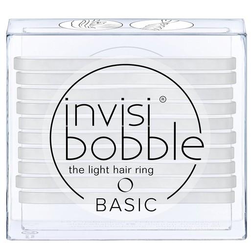 Invisibobble Basic Crystal Clear Διακριτικό Λαστιχάκι Μαλλιών Διάφανο, Συσκευασία 10 Τεμαχίων