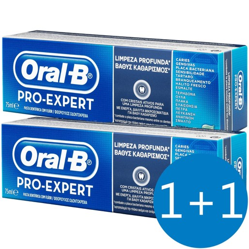 Oral-B Πακέτο Προσφοράς Pro-Expert Deep Clean Οδοντόκρεμα για Βαθύ Καθαρισμό 75ml  Προσφορά 1+1 Δώρο