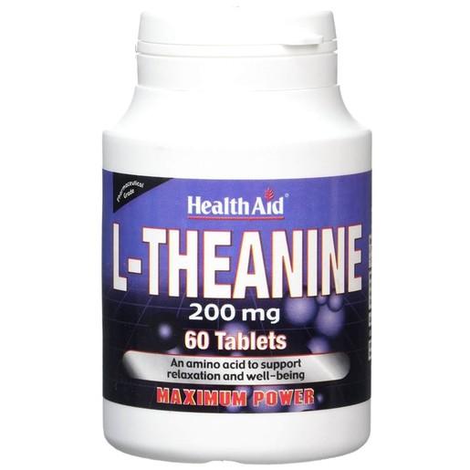 Health Aid L-Theanine 200mgΣυμπλήρωμα Διατροφής Θειανίνης για τηνΥποστήριξητηςΗρεμίας του Νευρικού Συστήματος 60Tabs