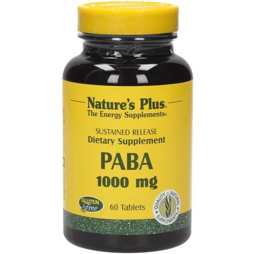 Nature\'s Plus Paba 1000mg Συμπλήρωμα Διατροφής, Απαραίτητο για το Μεταβολισμό των Πρωτεϊνών & την Παραγωγή Φολικού Οξέος 60tabs