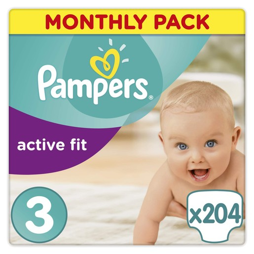 Pampers Active Fit Monthly Pack No3 Midi (4-9kg), 204 πάνες, μόνο 0,24€ / πάνα
