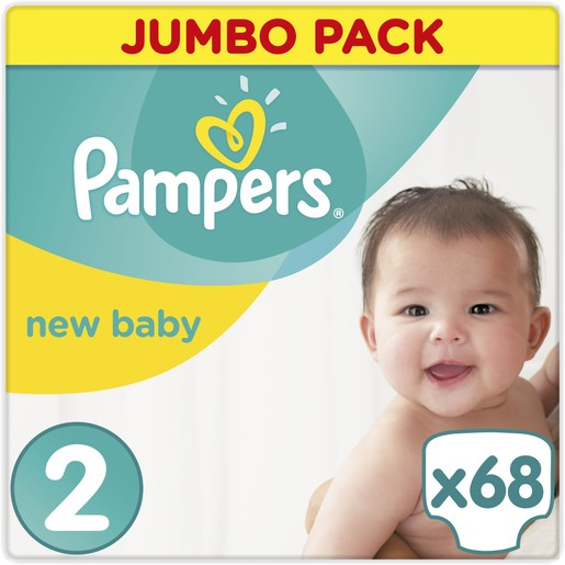 Pampers  New Baby Premium Protection Jumbo Pack No2 Mini (3-6kg), 68 πάνες