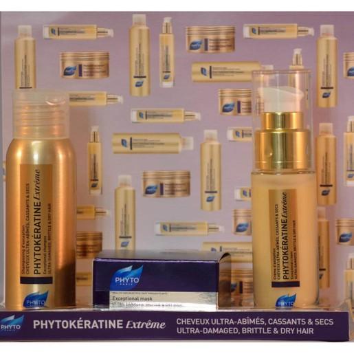 Phyto Phytokeratine Πακέτο Προσφοράς Extreme Shampooing  Θρεπτικό Σαμπουάν 50ml, Extreme Creme 30ml &  Extreme Masque 50ml