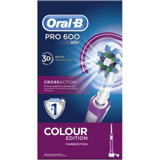 Oral-B Pro 600 Cross Action Color Edition Ηλεκτρική Οδοντόβουρτσα σε Μωβ Χρώμα