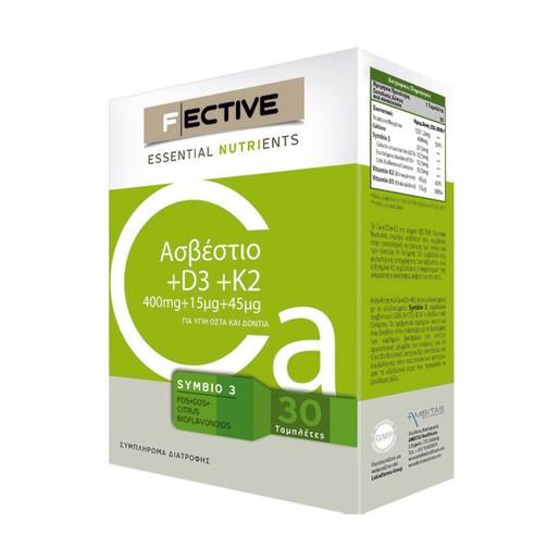 Fective Essential Nutrients Calcium & D3 & K2 Συμπλήρωμα Διατροφής Για Την Υγεία Των Οστών 400mg+15mg+45mg 30caps