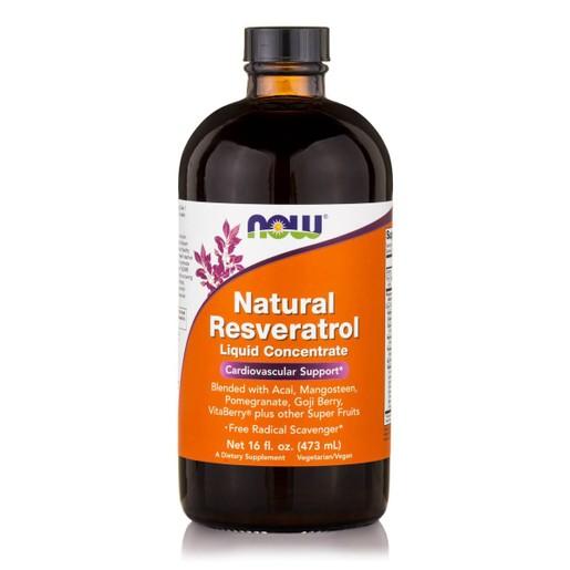 Now Foods Natural Resveratrol Liquid Concentrate Συμπλήρωμα Διατροφής Ρεσβερατρόλης, με Ισχυρές Αντιοξειδωτικές Ιδιότητες 473ml