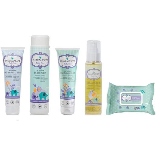 Pharmasept Σειρά ΠεριποίησηςΜωρούBaby Cream 150ml &Mild Bath300ml & Soothing Cream 150ml & Natural Oil100ml &Wipes30Τμχ