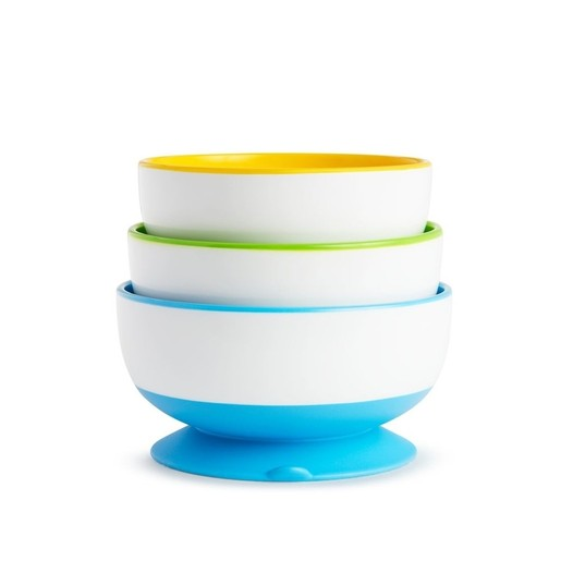 Munchkin Stay Put Bowl Πολύχρωμα Μπωλ Φαγητού με Βεντούζα Στήριξης 3 Τεμάχια
