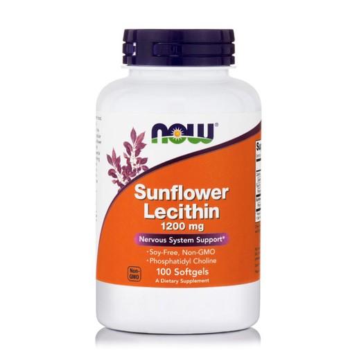Now Foods Sunflower Lecithin 1200mg Soy-Free Συμπλήρωμα Διατροφής, Λεκιθίνη από Ηλιέλαιο Πλούσια σε Φωσφολιπίδια 100 Softgels
