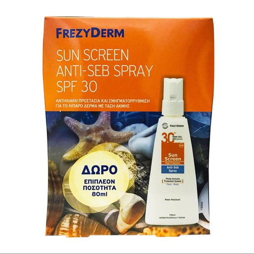 Frezyderm Πακέτο Προσφοράς Sun Screen Anti-Seb Spray Spf30 Αντηλιακή Υψηλή Προστασία για το Λιπαρό Δέρμα150ml & Δώρο 80ml