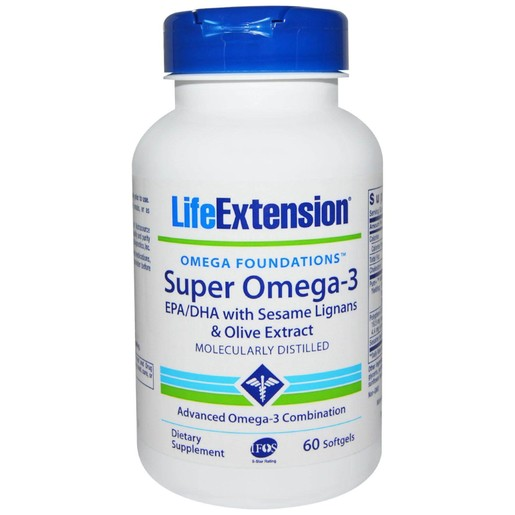 Life Extension Super Omega-3 EPA/DHA With Sesame Lignans & Olive Fruit Extract 60softgels