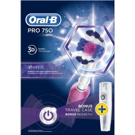 Pro 750 3D White Special Edition Ηλεκτρική Οδοντόβουρτσα σε Ροζ Χρώμα - Oral-B