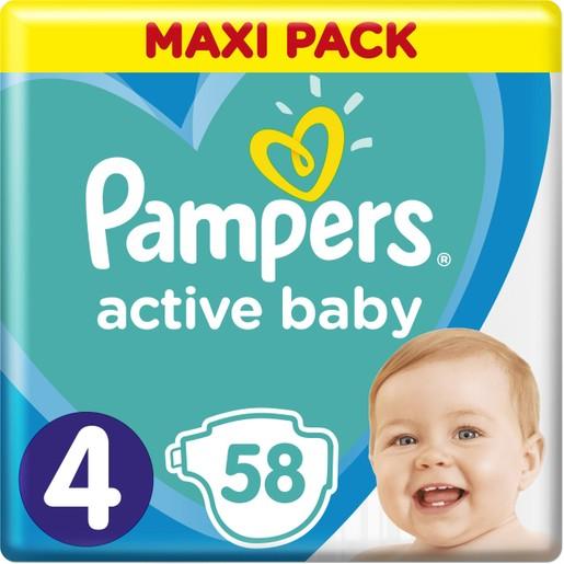 Pampers Active Baby Πάνες Maxi Pack No4 (9-14 kg), 58 Πάνες
