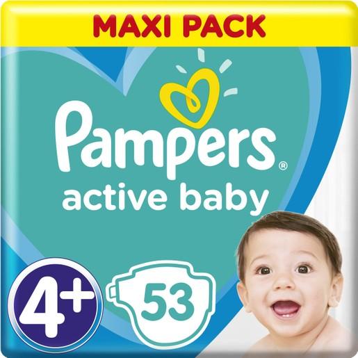 Pampers Active Baby Πάνες Maxi Pack No4+ (10-15 kg), 53 Πάνες