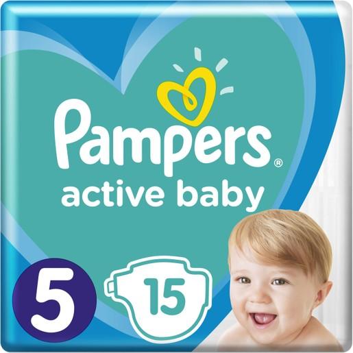 Pampers Active Baby Πάνες No5 (11-16 kg), 15 Πάνες