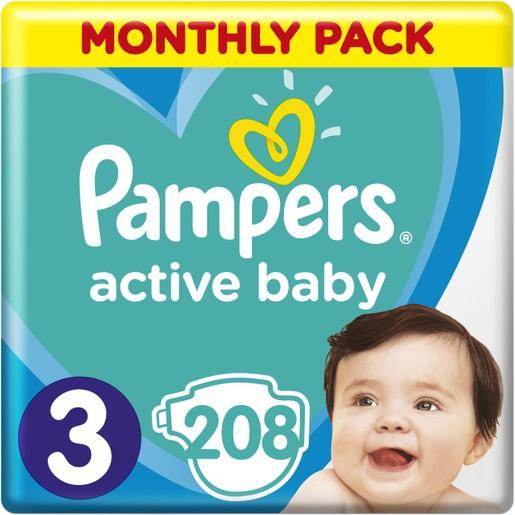 Pampers Active Baby Πάνες Monthly Pack No3 (6-10 kg), 208 Πάνες, μόνο 0,19€ / πάνα