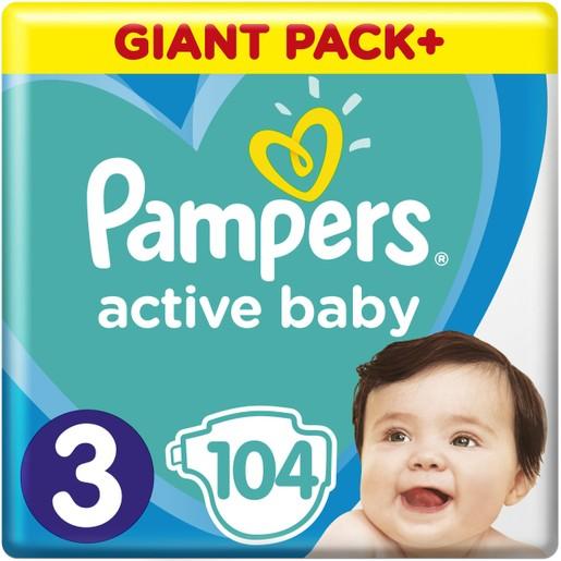 Pampers Active Baby Πάνες Giant Pack No3 (6-10 kg), 104 Πάνες, μόνο 0,26€ / πάνα
