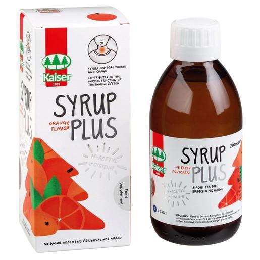 Kaiser Syrup Plus Orange Flavor Σιρόπι για τον Ερεθισμένο Λαιμό Γεύση Πορτοκάλι 200ml