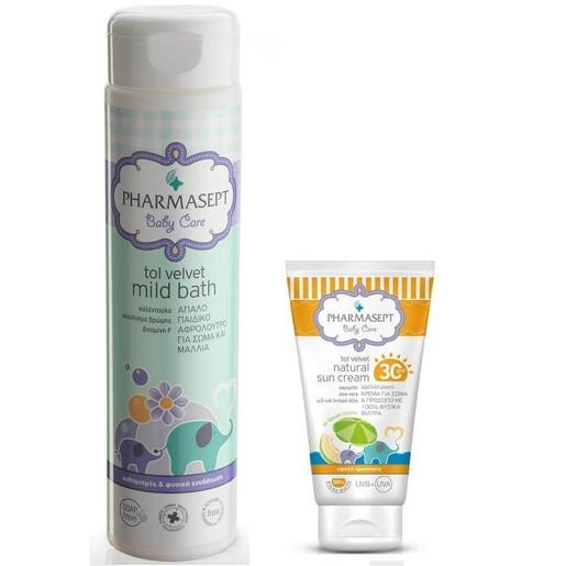 Pharmasept Πακέτο Προσφοράς Tol Velvet Baby Natural Sun Cream Spf30 100ml & Δώρο Pharmasept Tol Velvet Baby Mild Bath 300ml