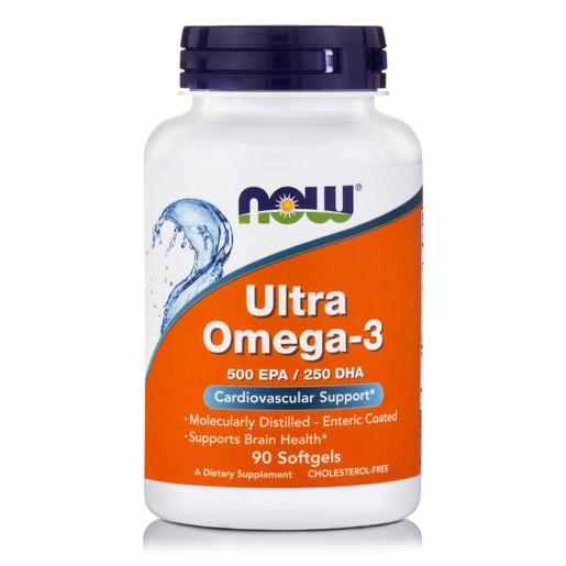 Now Foods Ultra Omega-3 (500 EPA / 250 DHA) Συμπλήρωμα Διατροφής Ωμέγα-3 Λιπαρών Οξέων σε Ποσοστό Συγκέντρωσης 75%, 90 Softgels
