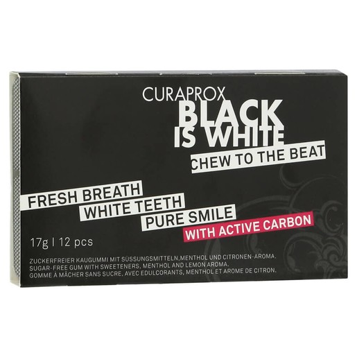 Curaprox Black is White Chew to the Beat Τσίχλα για Λεύκανσητων Δοντιώνμε Ενεργό Άνθρακα & Γεύση Λεμόνι - Μέντα12 Τεμάχια