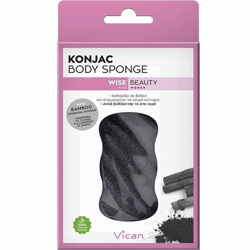 Vican Wise Beauty Konjac Body Sponge Bamboo Charcoal Powder 1τμχ