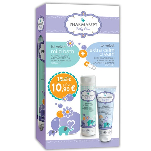 Pharmasept Baby Care Πακέτο Προσφοράς Tol Velvet Baby Mild Bath 300ml &Tol Velvet Baby Extra Calm Cream 150ml σε Ειδική Τιμή