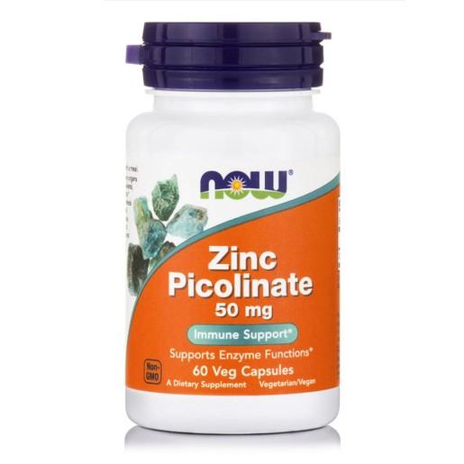 Now Foods Zinc Picolinate 50mg Συμπλήρωμα Διατροφής, Ψευδάργυρος στην πιο Απορροφήσιμη Μορφή 60 vegcaps