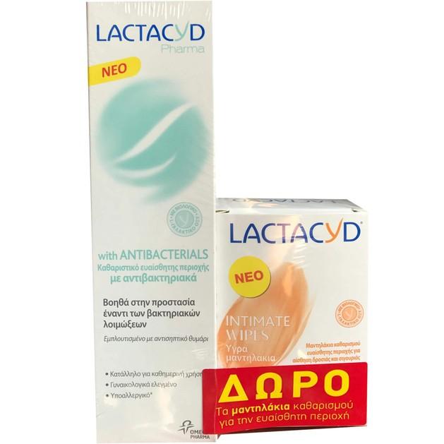 Lactacyd Pharma Πακέτο Προσφοράς With Antibacterials Καθαριστικό Ευαίσθητης Περιοχής 250ml & Δώρο Intimate Wipes 15 Τεμάχια