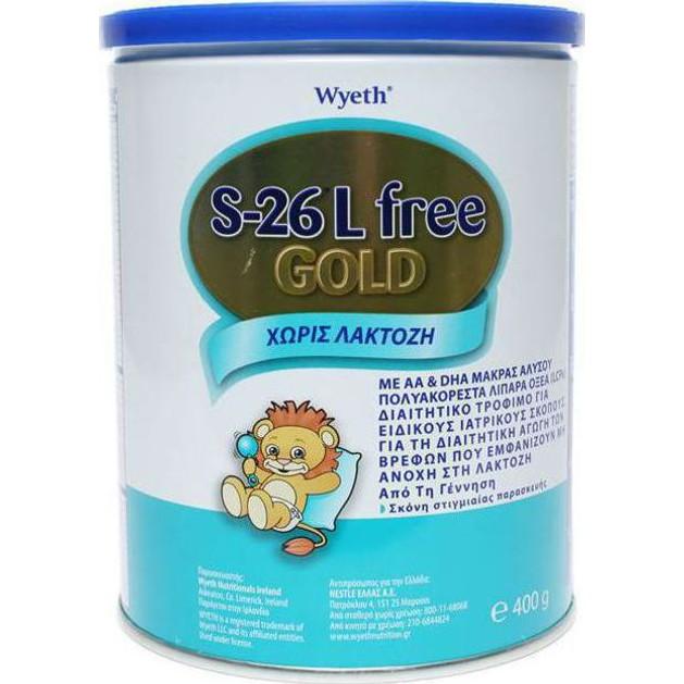 Wyeth S-26 Lactose Free Gold Γάλα από τη Γέννηση για Βρέφη με Δυσανεξία στη Λακτόζη 400gr