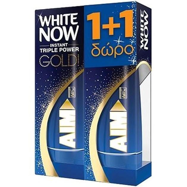 Aim White Now Gold Instant Triple Power Λευκαντική Οδοντόκρεμα 1+1 Δώρο, 2x50ml