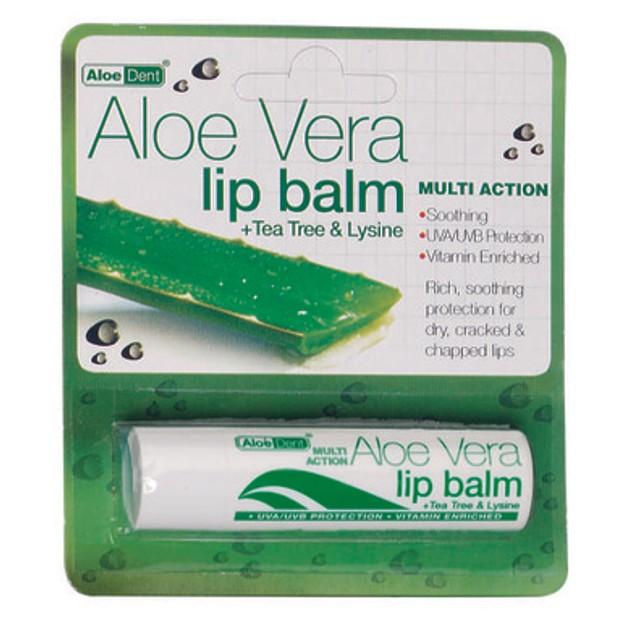 Optima Aloe Vera Lip Balm Μαλακώνει Και  Ενυδατώνει Τα Χείλη 4gr