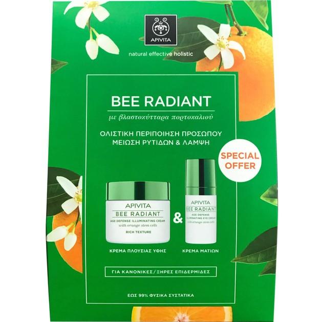 Πακέτο Προσφοράς Bee Radiant Age Illuminating Day Rich Cream 50ml & Δώρο Eye Cream 15ml - Apivita
