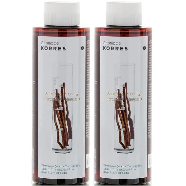 Korres Σαμπουάν Γλυκύρριζα & Τσουκνίδα για Λιπαρά Μαλλιά 1+1 Δώρο2x250ml