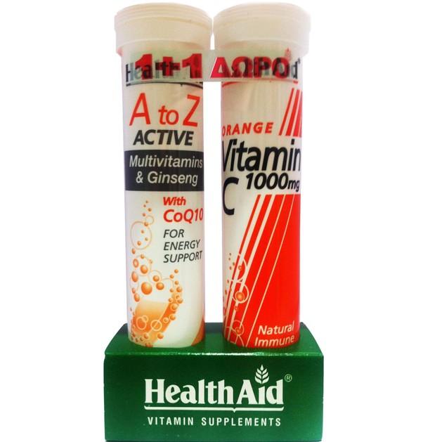 Πακέτo Προσφοράς Α to Ζ Active 20eff.tabs + Δώρο Vitamin C Orange 1000mg 20eff.tabs - Health Aid
