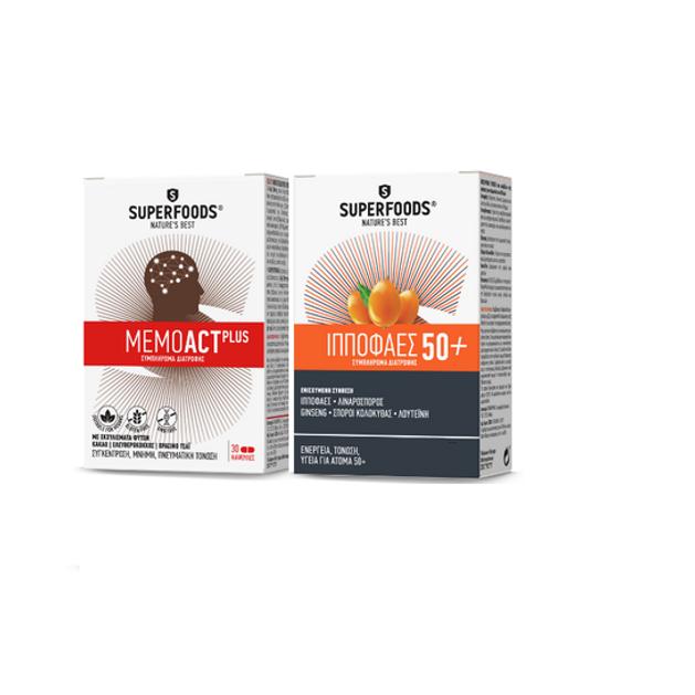 Superfoods Memoact Plus 30caps & Δώρο Superfoods Ιπποφαές 50+, 10caps