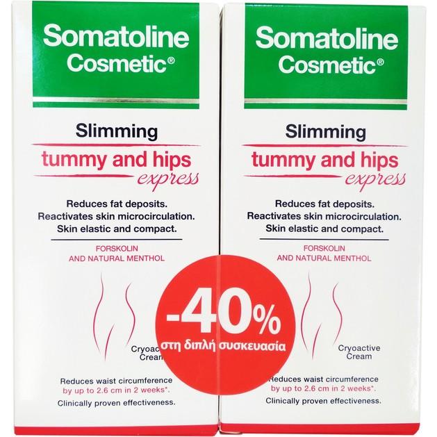Somatoline Πακέτο Προσφοράς Slimming Tummy and Hips Express Αγωγή Αδυνατίσματος για Κοιλιά & Γοφούς 2x150ml σε Ειδική Τιμή